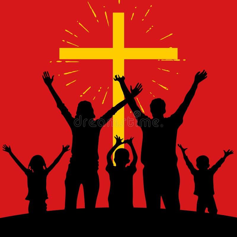 Adoración de la familia de Lord Jesus Christ stock de ilustración