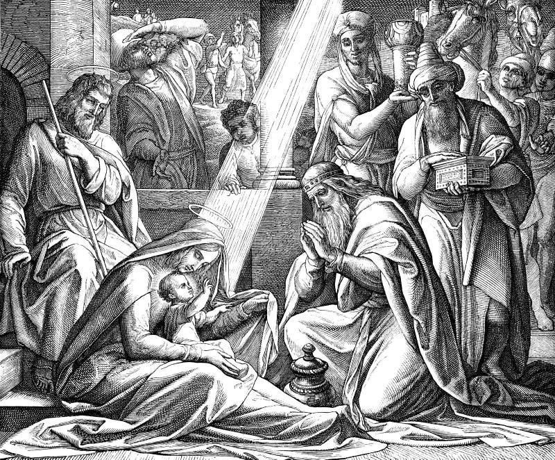 Adoración de unos de los reyes magos ilustración del vector