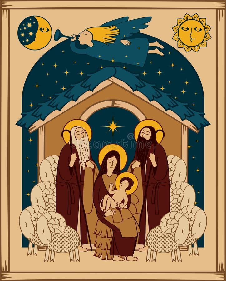 Adoración de unos de los reyes magos Escena de la natividad de la Navidad stock de ilustración