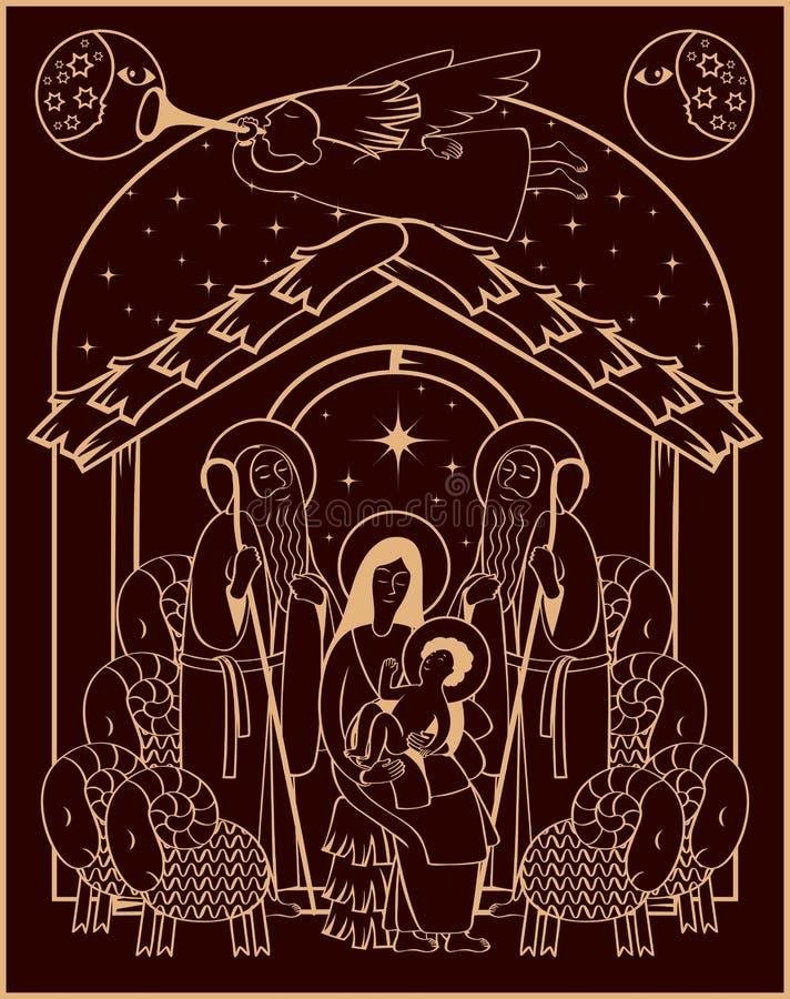 Adoración de unos de los reyes magos Maria y Jesús stock de ilustración