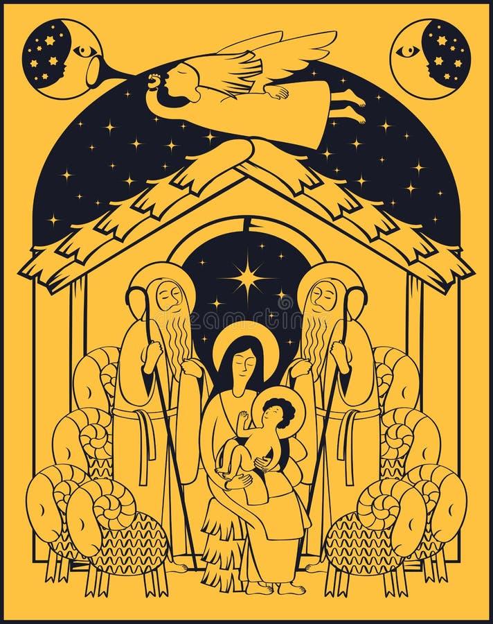 Adoración de unos de los reyes magos Maria y Jesús libre illustration