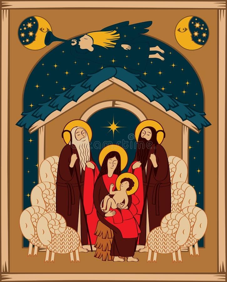 Adoración de unos de los reyes magos Maria y Jesús ilustración del vector