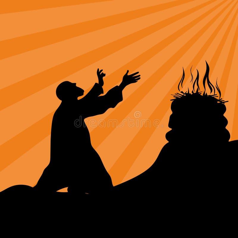 Adoración, rezo El altar de dios, fuego, sacrificio ilustración del vector