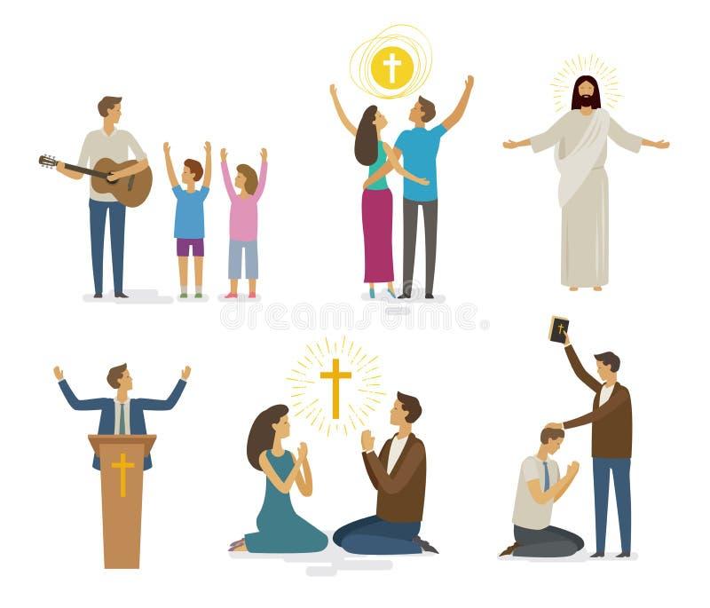 Adoración, rezo, sistema del icono de la fe Concepto de la religión Ilustración del vector stock de ilustración
