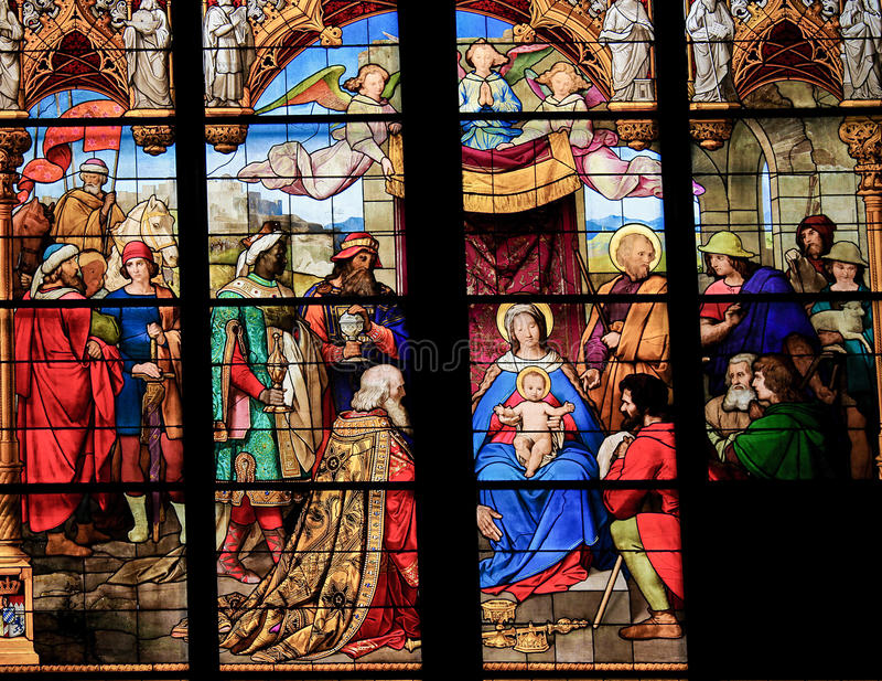 Adoracja x28 & Magi; Epiphany& x29; - witraż fotografia royalty free
