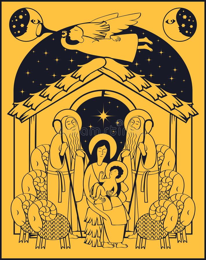 Adoracja magi Mary jezusa royalty ilustracja