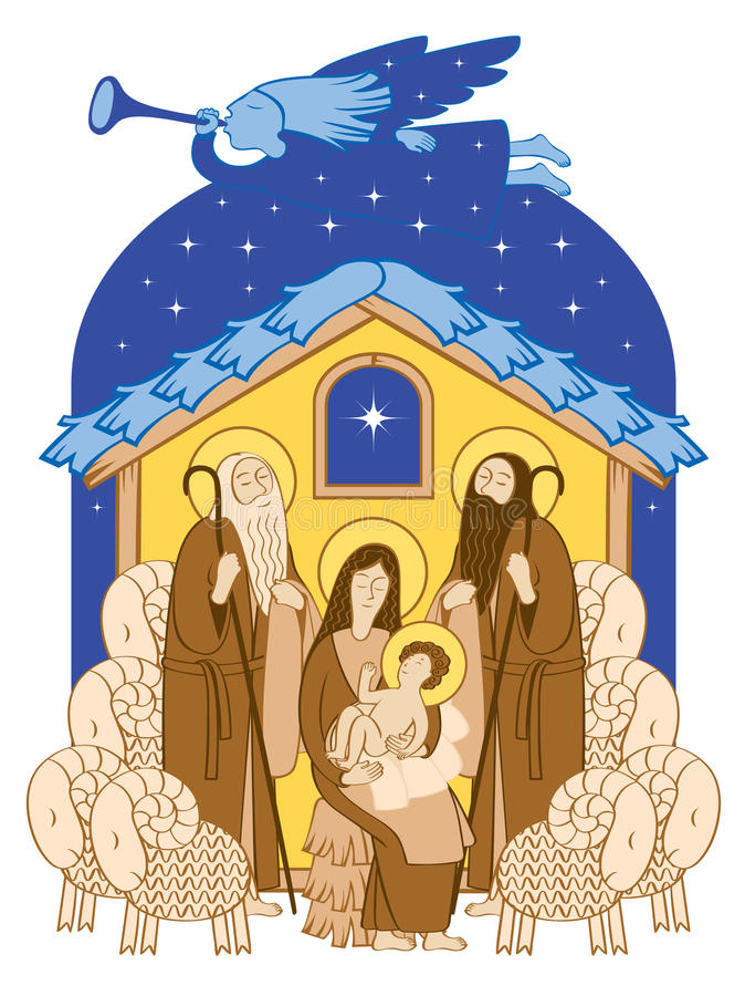 Adoration of the Magi royalty free illustration