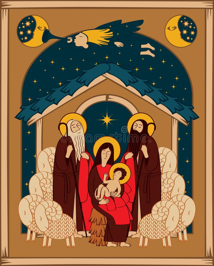 Adoration of the Magi. Mary and Jesus vector illustration