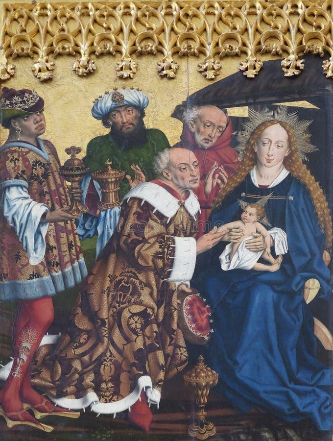 Adoration of the Magi, Twelve Apostles altar in St James Church in Rothenburg ob der Tauber, Germany.  stock images