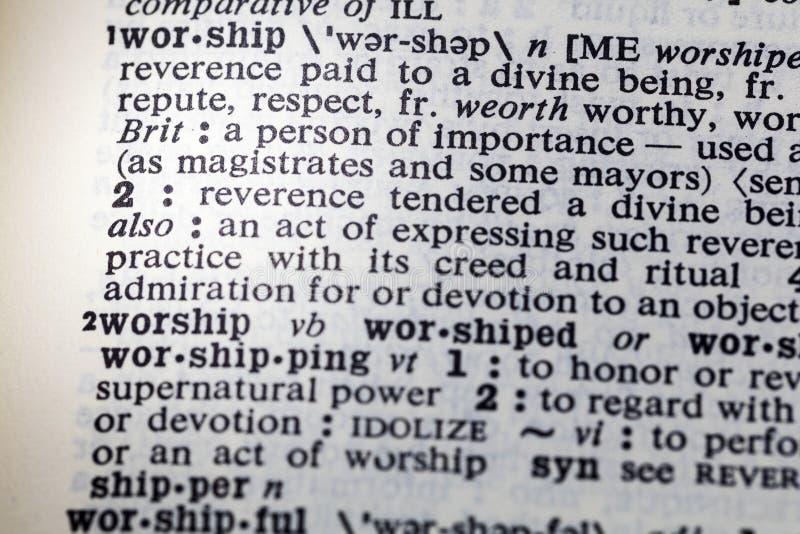 Adorez la définition de dévotion de puissance d'honneur image stock