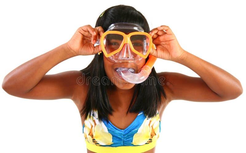 Adorible 10 Einjahresmädchen mit Snorkel stockfoto