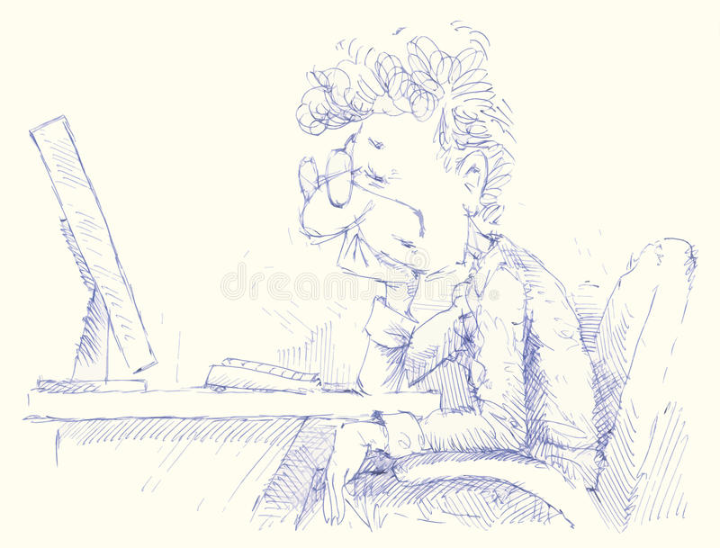 Adormecido caído usuário do computador ilustração royalty free