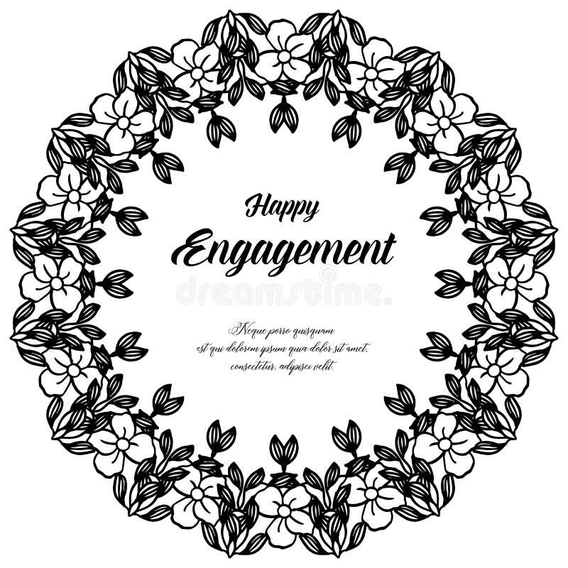 Adornado de la tarjeta de felicitación, tarjeta de la invitación del compromiso feliz, marco floral del arte del modelo Vector ilustración del vector