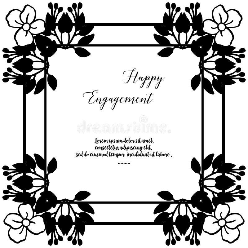 Adornado de la tarjeta de felicitación, tarjeta de la invitación del compromiso feliz, marco floral del arte del modelo Vector libre illustration