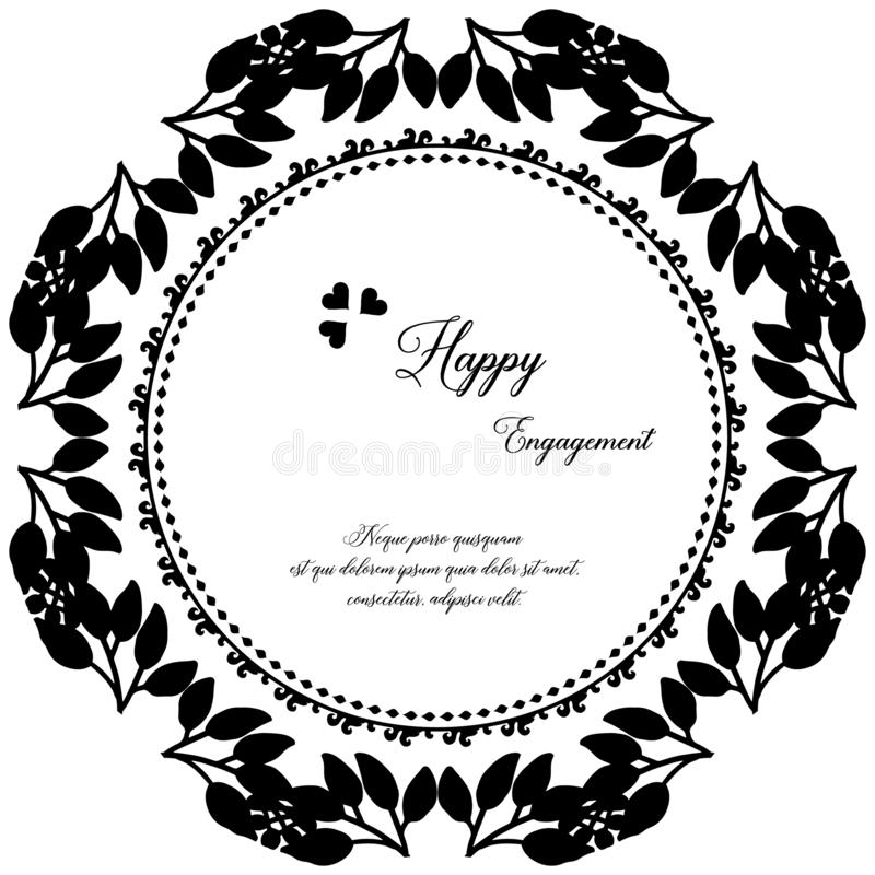 Adornado de la tarjeta de felicitación, tarjeta de la invitación del compromiso feliz, marco floral del arte del modelo Vector stock de ilustración