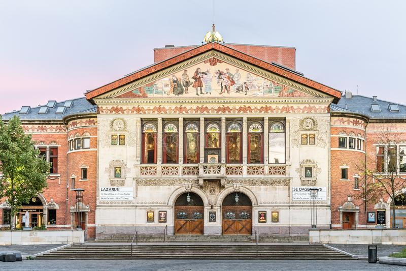 The adorned façade of the Aarhus Theatre in the soft evening light. Aarhus Theatre with an adorned facade  in the soft evening light, inaugurated in 1900 royalty free stock photography
