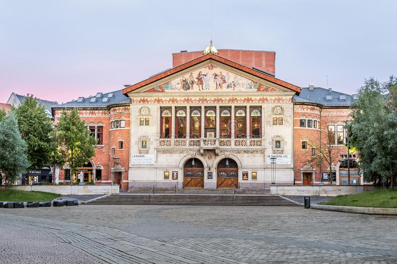 The adorned facade of the Aarhus Theatre and the square in the soft evening light. Denmark. July 15, 2019 stock photography