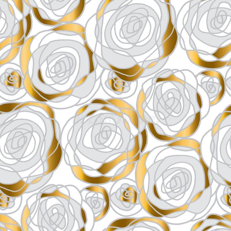 Adorno abstracto del oro y de la rosa del blanco stock de ilustración