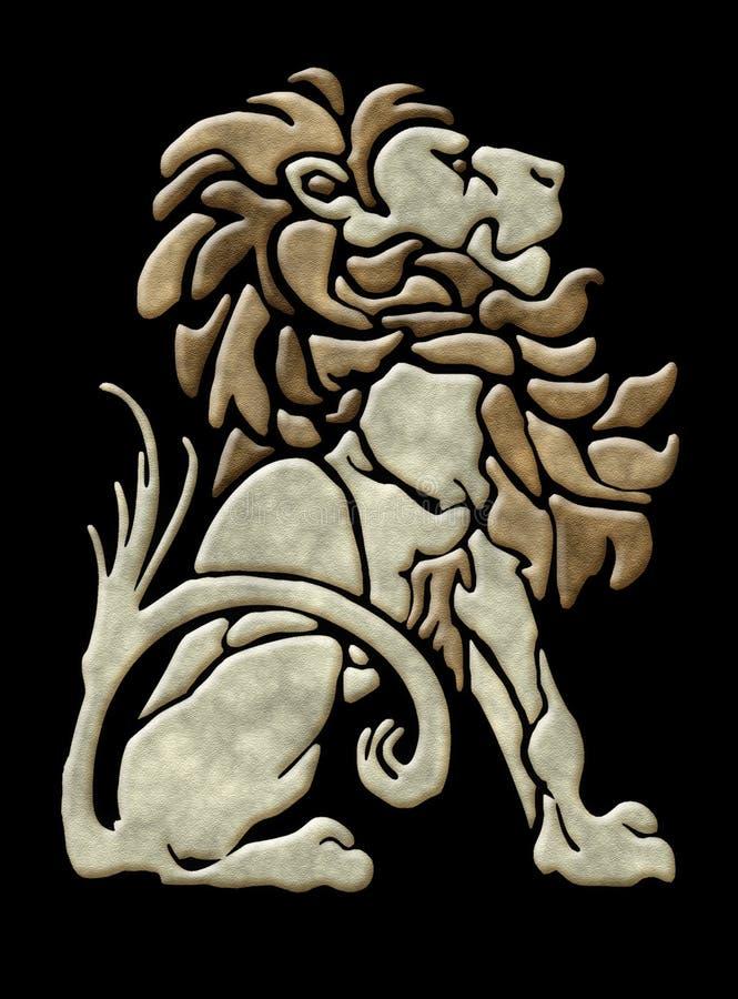 Adorno arquitectónico del león de piedra stock de ilustración