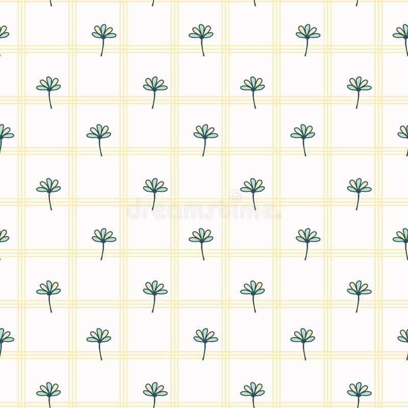 Adorno Daisy Style Seamless Vector Pattern de la flor de la primavera Floral geom?trico exhausto de la mano libre illustration