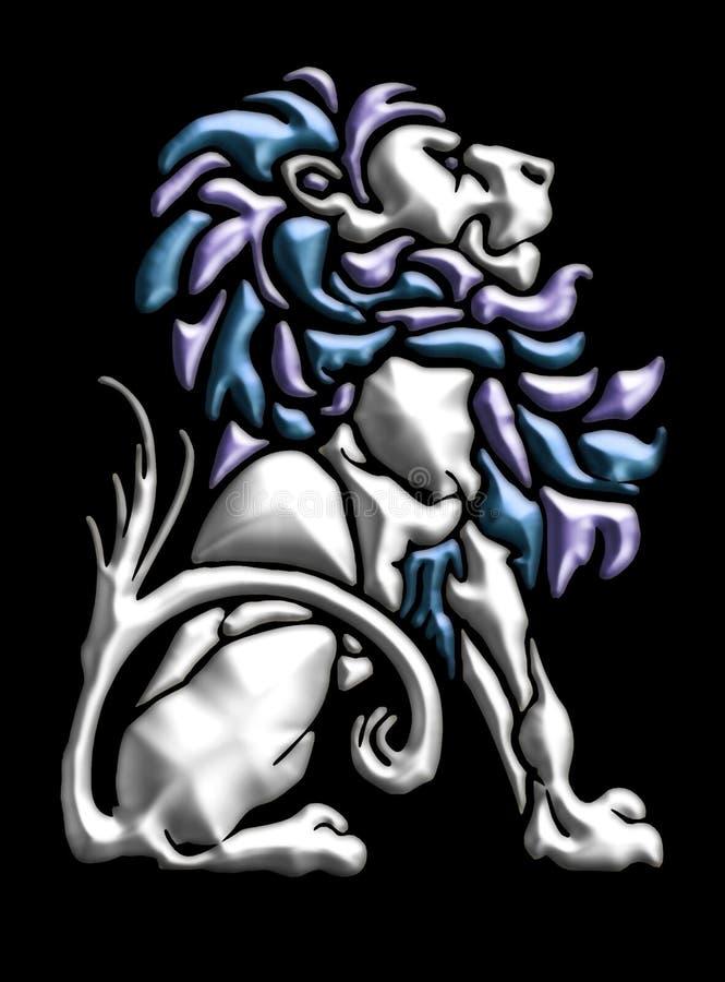 Adorno del león del metal stock de ilustración