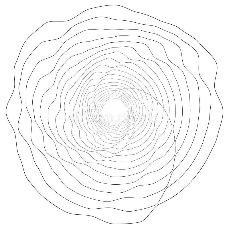 Adorno geométrico circular Elemento abstracto de Op. Sys.-arte del grayscale ilustración del vector