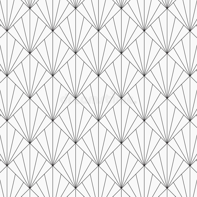 Adorno japonés moderno Fondo del tessellation de los triángulos que entrelaza Imagen con las conchas de peregrino repetidas Escal stock de ilustración