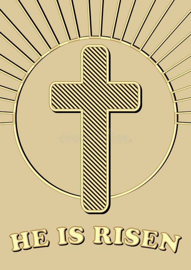 Adorno religioso de Pascua con la cruz de oro en rayos y la inscripción del círculo lo suben diseño del oro en de oro ligero ilustración del vector