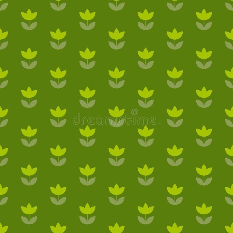 Adorno repetible del tulipán de Holanda del color verde de hierba libre illustration