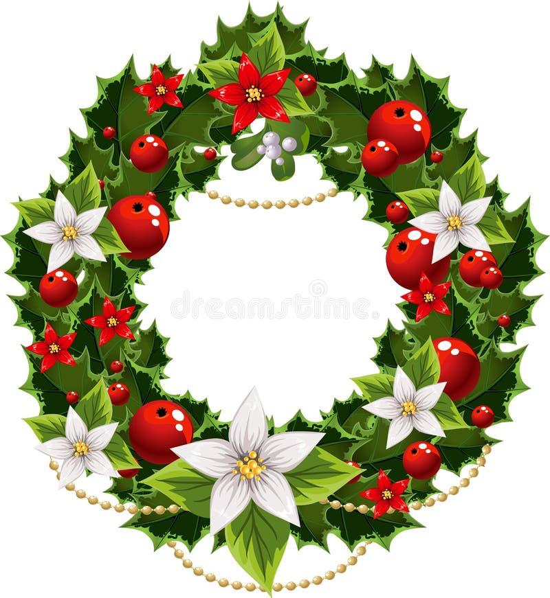 Adorno verde y rojo de la Navidad con la guirnalda libre illustration