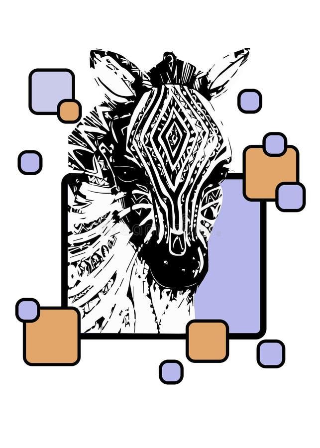Adornos del africano del estilo de la cebra de la sabana stock de ilustración