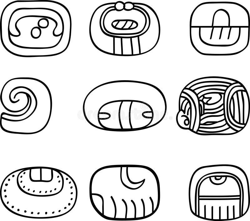 Adornos del mexicano, del Azteca o del maya, glyphs ilustración del vector