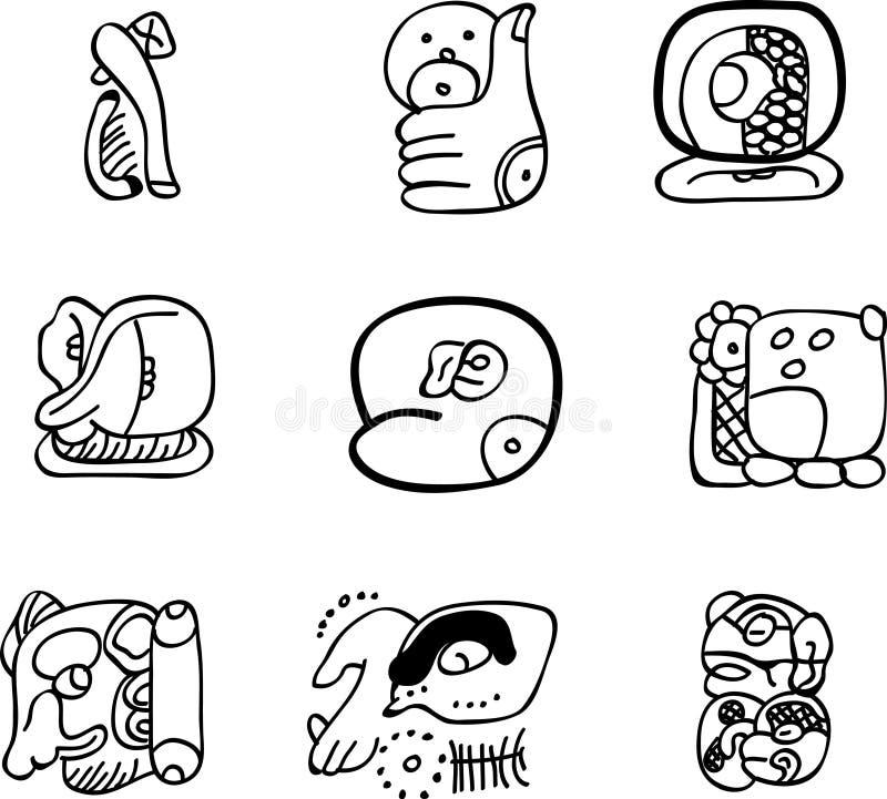 Adornos del mexicano, del Azteca o del maya, glyphs stock de ilustración