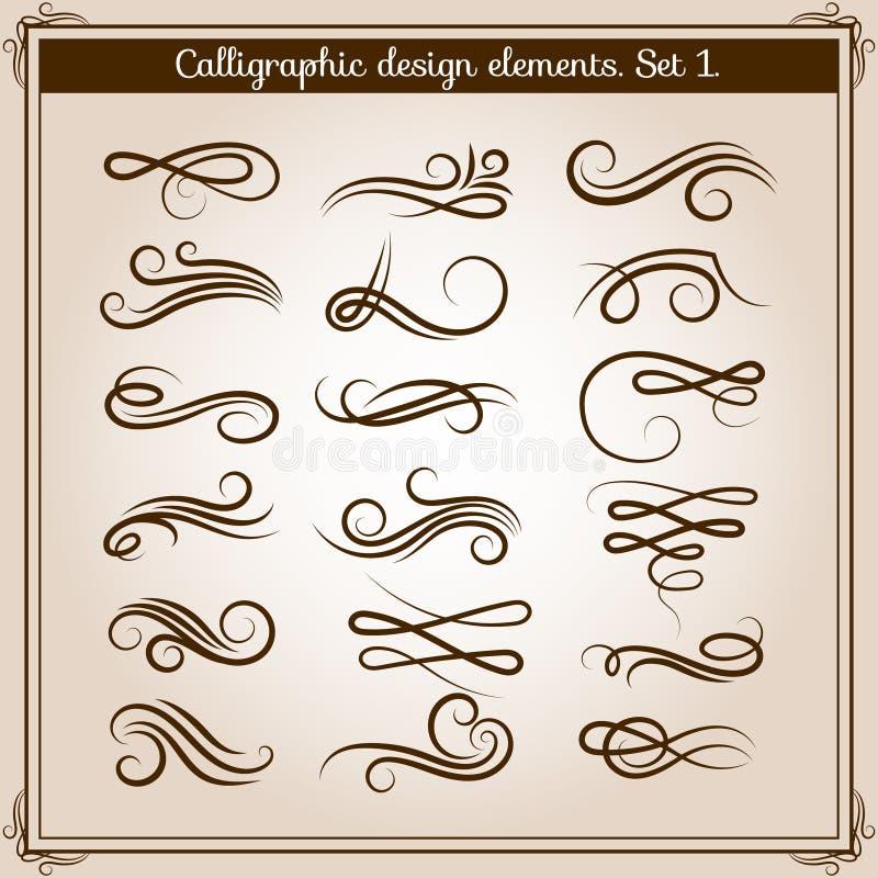 Adornos del ornamento del Flourish fijados Elementos caligráficos de los flourishes del vector en estilo retro ilustración del vector