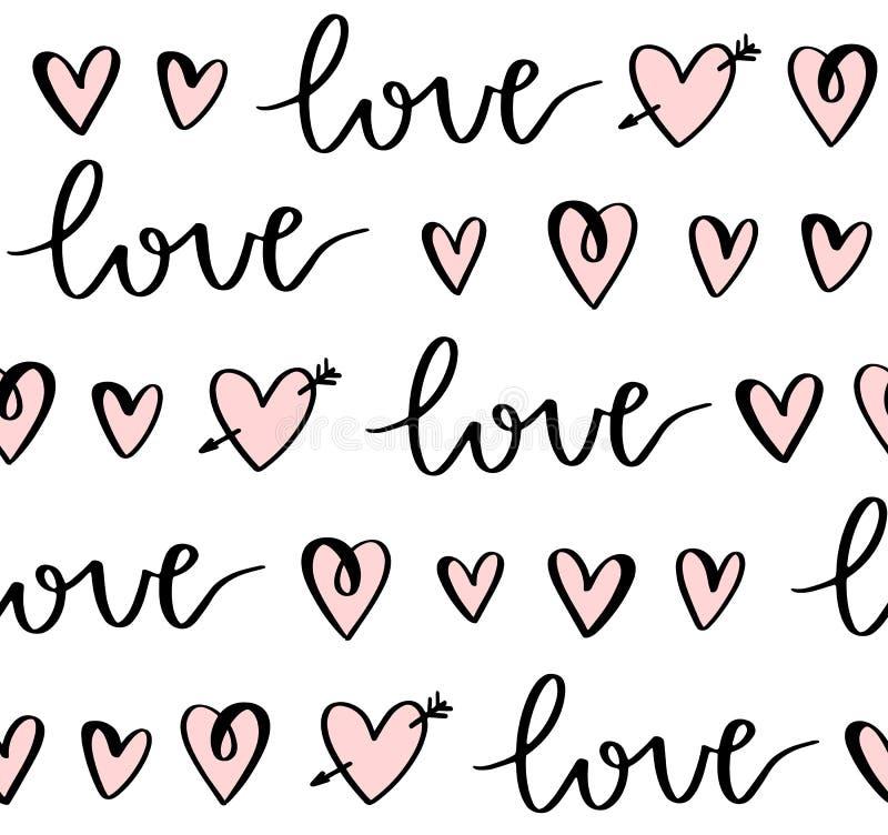 Adoro um padrão sem descontinuidades com letras de mão e corações de rabo Plano de fundo do Dia do Vetor dos Namorados Design par ilustração stock
