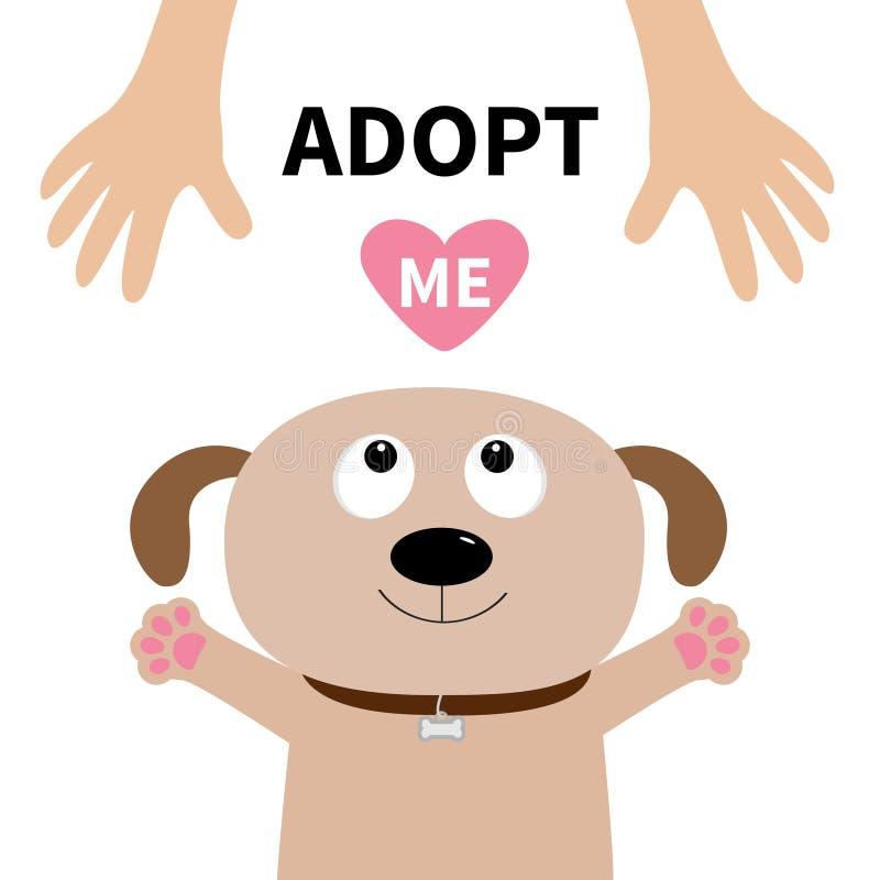 Adote-me Cara do cão Adoção do animal de estimação Cão do cachorrinho que olha acima à mão humana ilustração royalty free