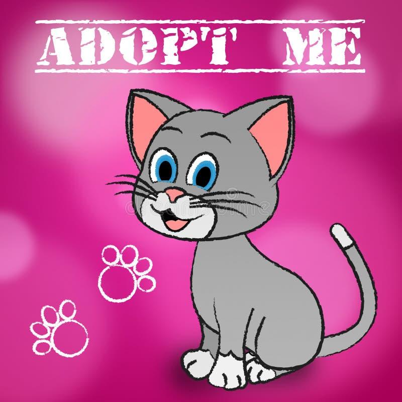 Adote o animal de estimação de Cat Indicates Adoption Felines And ilustração stock