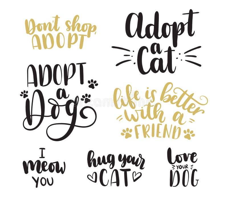 Adote um grupo da rotulação do animal de estimação Adote um gato Adote um cão ilustração do vetor