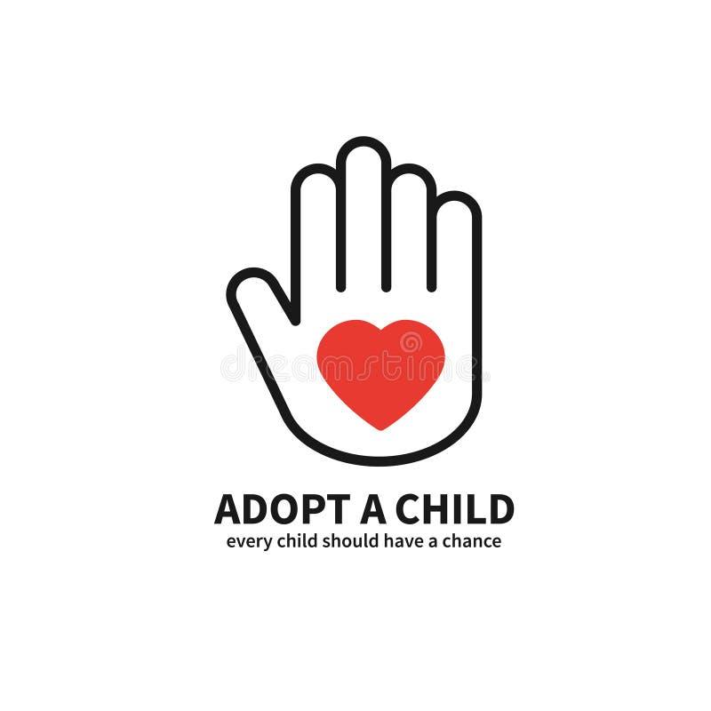 Adote uma criança Mão com linha de coração ícone Tema voluntário do apoio da proteção do cuidado da ajuda Sinal e símbolo da adoç ilustração royalty free