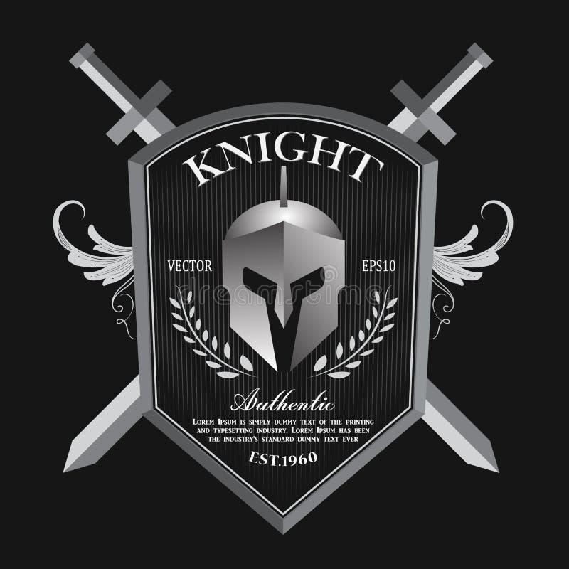 Adoubez le vecteur de logo d'insigne de vintage de bouclier et de casque illustration libre de droits