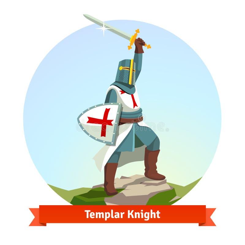 Adoubez Templar dans l'armure avec le bouclier et l'épée illustration de vecteur