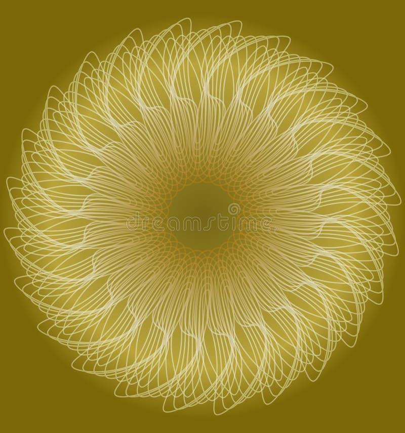 Adoucissez la forme d'or modelée de cercle dans le style fractral, forme de fleur d'imagination, fond contrastant du bas illustration libre de droits