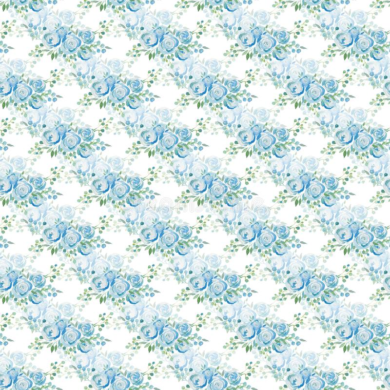 Adoucissez les roses bleues, un bouquet des fleurs Configuration sans joint Illustration d'aquarelle illustration libre de droits
