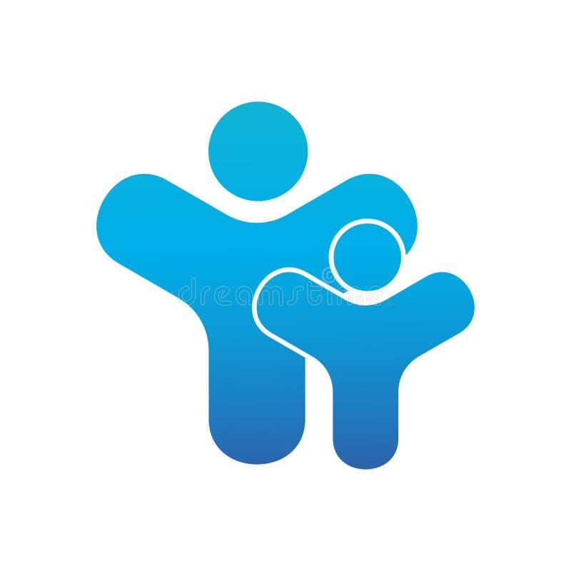Adoult y logotipo del niño Padres o concepto mathersday parenting Diseño de la plantilla para un icono o un logotipo Símbolo de l libre illustration