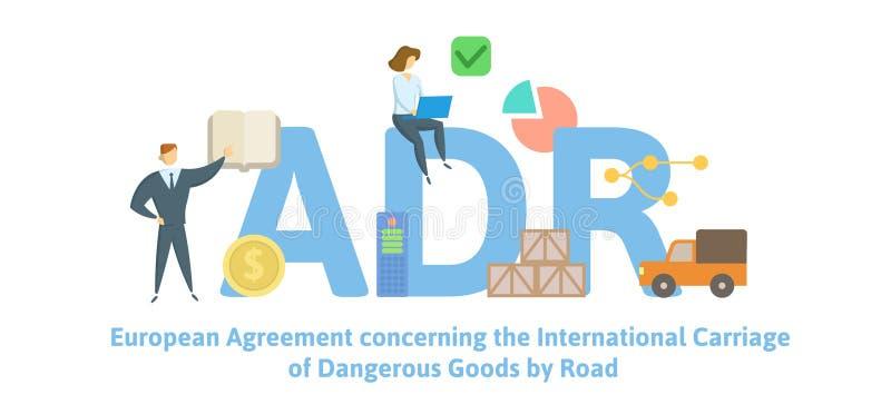 ADR, европейское согласование относительно международного экипажа опасных товаров дорогой Концепция с ключевыми словами, письмами иллюстрация штока
