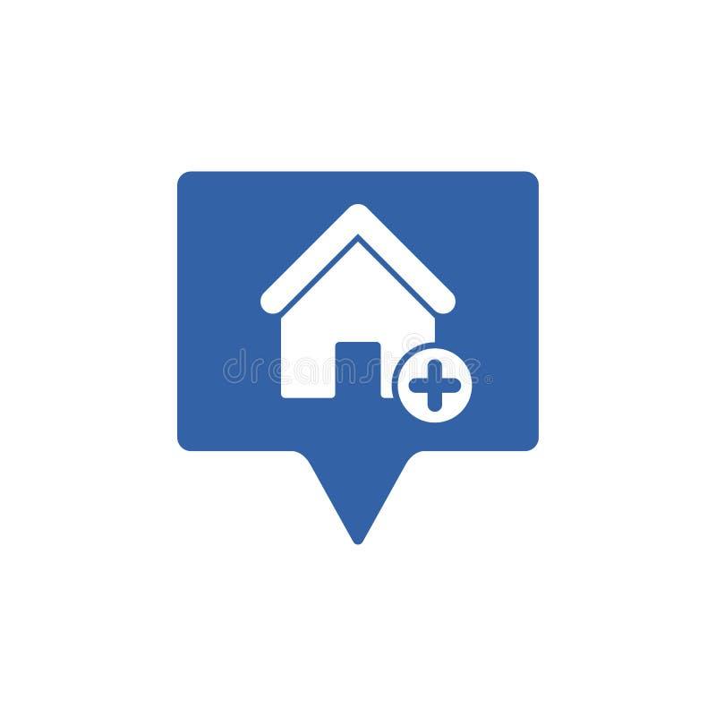 Adreßikone mit addieren Zeichen Adressieren Sie Ikone und neues, Plus-, positives Symbol lizenzfreie abbildung