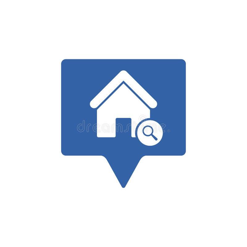Adreßikone mit Forschungszeichen Adressieren Sie Ikone und erforschen Sie, finden Sie, kontrollieren Sie Symbol lizenzfreie abbildung