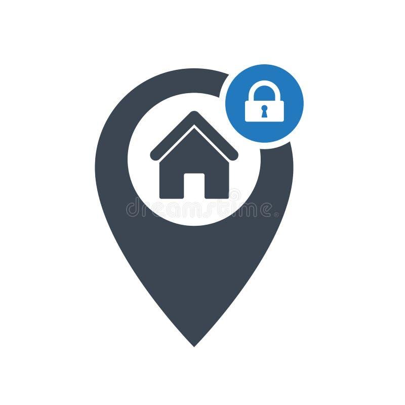 Adreßikone mit Vorhängeschlosszeichen Adressieren Sie Ikone und Sicherheit, Schutz, Privatlebensymbol vektor abbildung