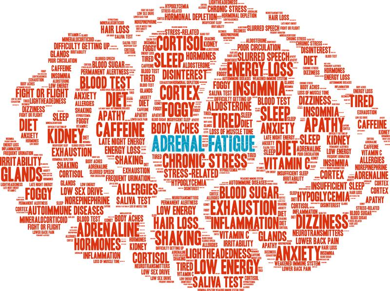 Adrenal Fatigue Word Cloud. On a white background stock illustration