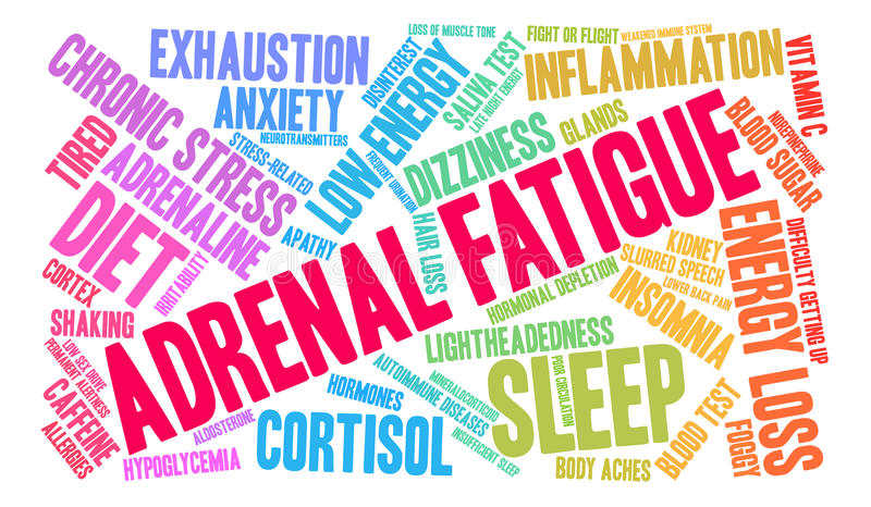 Adrenal Fatigue Word Cloud. On a white background vector illustration